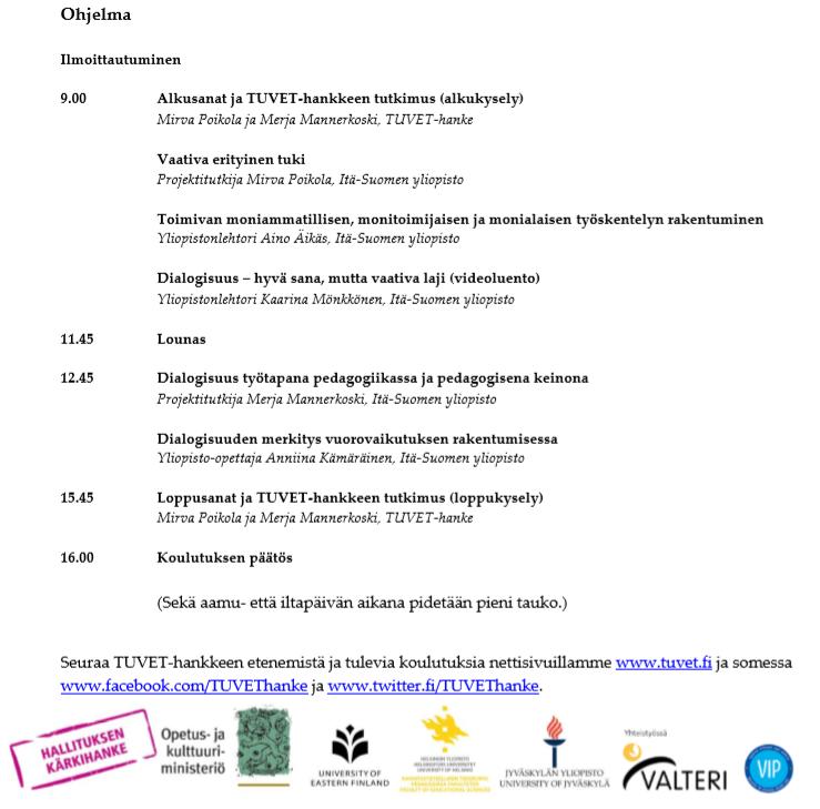 Koulutuksen päiväohjelma Kuopiossa 29.10.2019