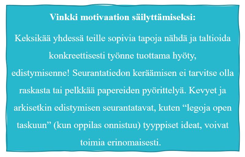 Turkoosi tehostetausta, jossa lukee vinkki motivaation säilyttämiseksi.